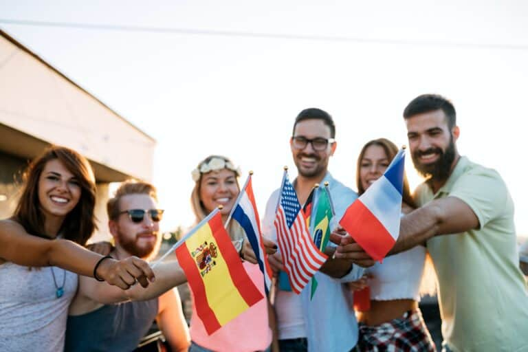 Friends of different culutres having fun, promoting peace without racial prejudices