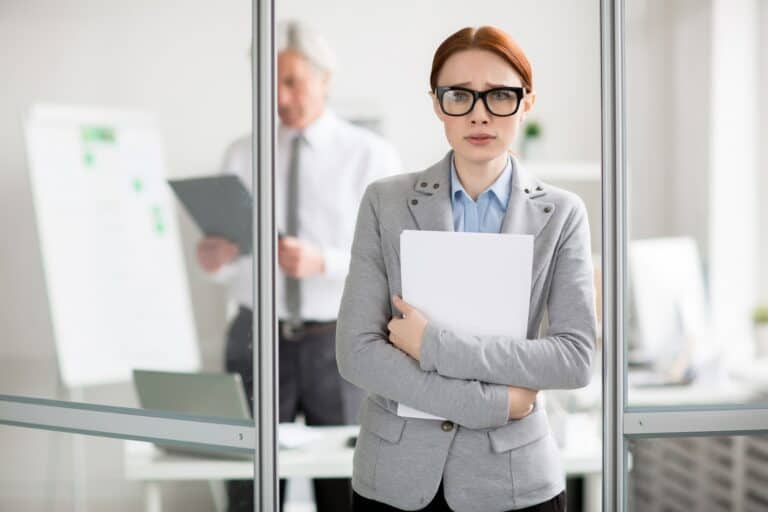 woman leaves bosses office after saying no