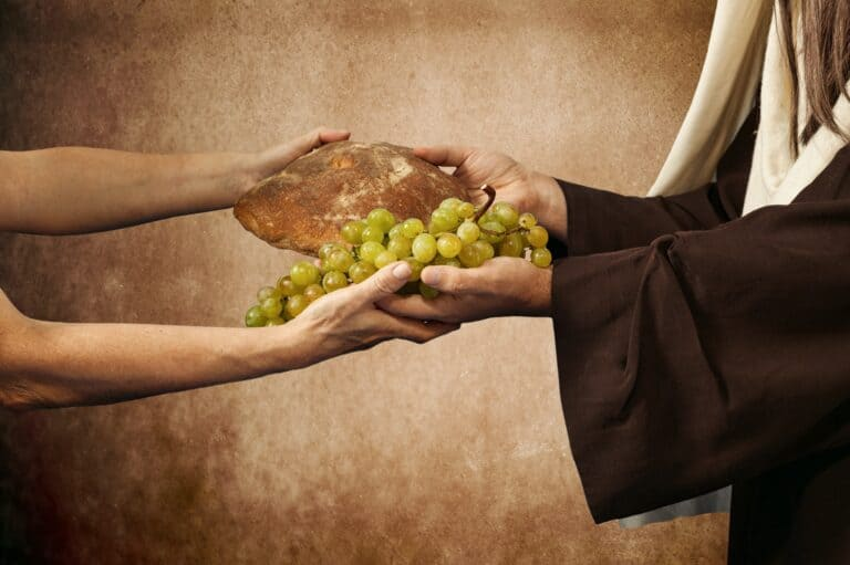 Jesus sharing bread grapes helping others in need